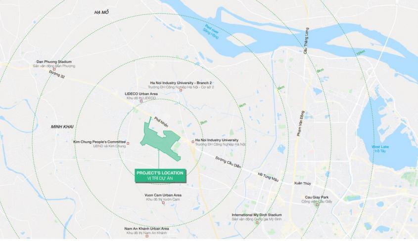 Vị trí dự án Hinode Royal Park - Kim Chung Di Trạch Hoài Đức